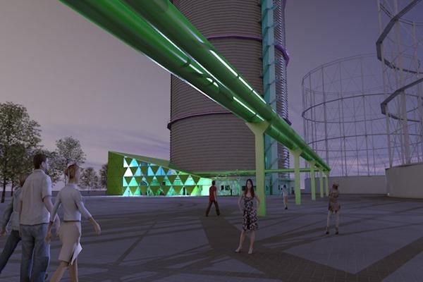 3D Visualisierung München | Gaswerk Anbau bei Dämmerung
