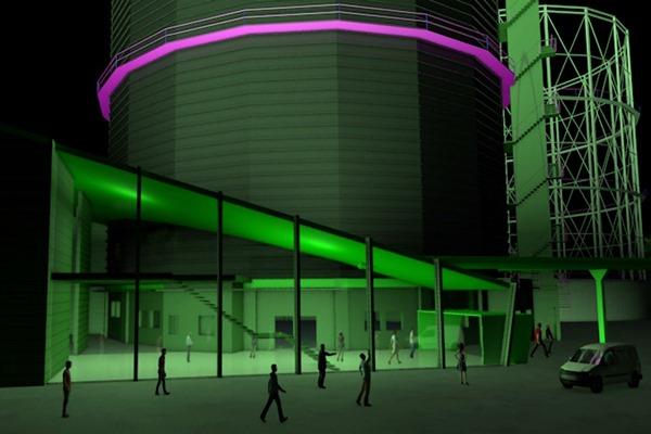 3D Visualisierung München | Gaswerk Anbau mit Glasfassade bei Nacht