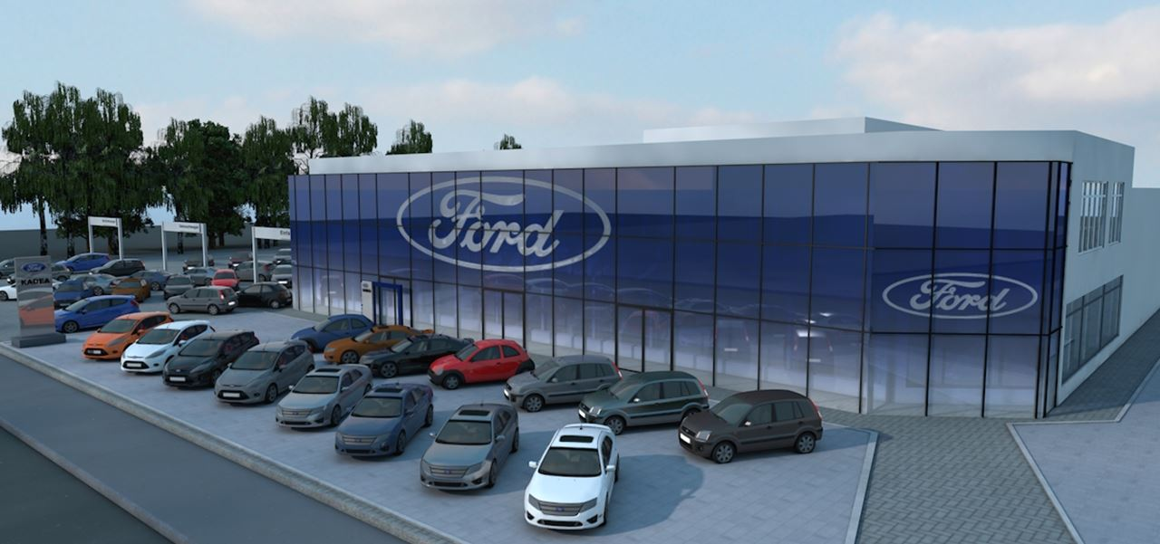 3D Architekturvisualisierung Ford Store